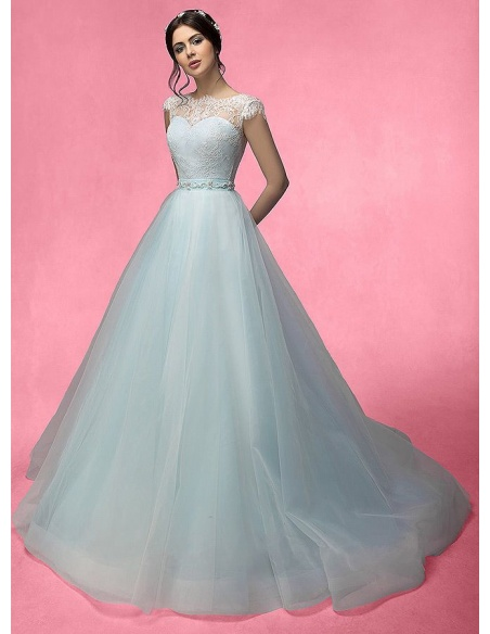Abito da Sposa A-line con gonna in tulle e corpetto in pizzo chantilly con manichetta