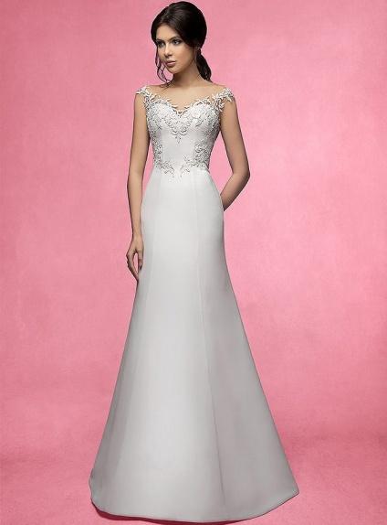 Vestito da Sposa Semplice Raffinato con gonna in raso e applicazioni di macramè su corpetto
