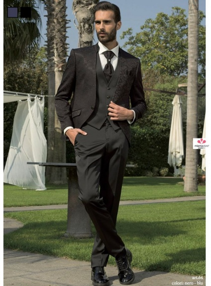 Wedding suit with Korean collar jacket in Blue and Black