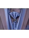Abito da Sposo Classico Slim Fit con finiture argento o blu elettrico e accessori abbinati