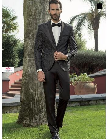 Smoking da Sposo nero con giacca tramata, panciotto e papillon abbinati - taglie dalla 46 alla 60