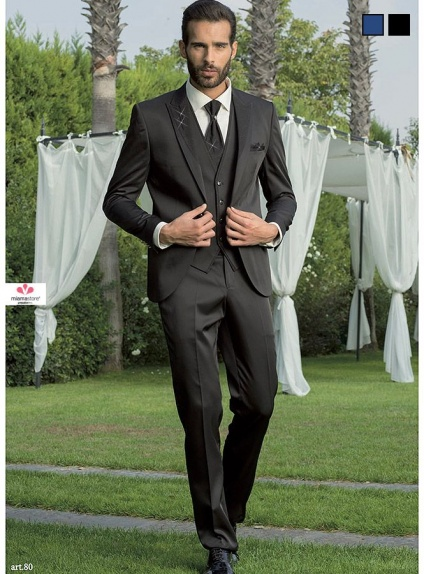 Wedding slim Suit with glitter lapel in Blue or Black