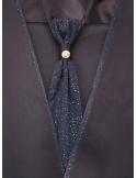Abito da Sposo Semplice con rifiniture glitter brillanti anche sul panciotto e la cravatta - nero o blu