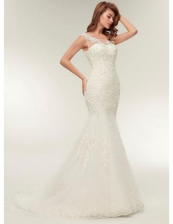 570972c4c2c5 Vestito da Sposa online a Sirena ricco di pizzo e con bretelle girocollo ...