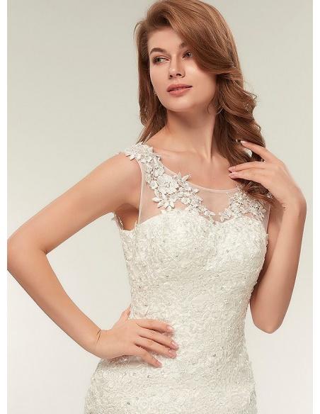Vestito da Sposa online a Sirena ricco di pizzo e con bretelle girocollo