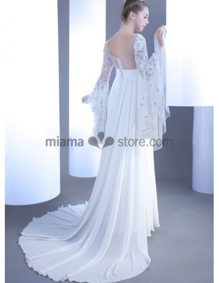 CELIA - Sheath Empier waist Cheap Court train Chiffon Low round/Scooped neck Wedding dress