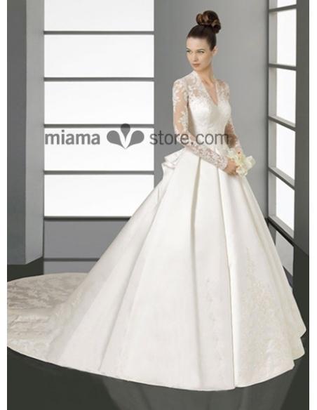 SARA - A-line V-neck Chapel train Satin Wedding dress