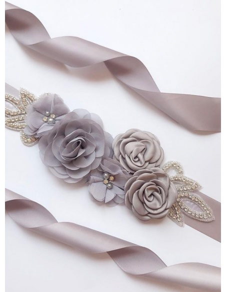 Taffeta Floral Wedding sash