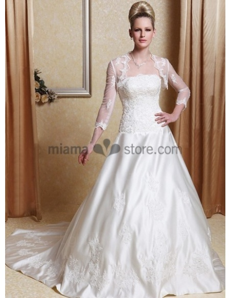INES - A-line Strapless Chapel train Satin Wedding dress