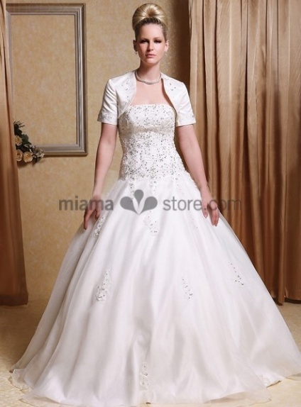 NOUR - A-line Strapless Floor length Satin Wedding dress
