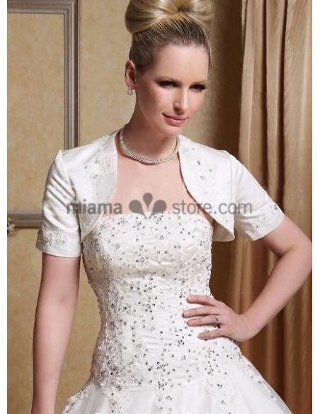 NOUR - A-line Strapless Floor length Satin Wedding dress