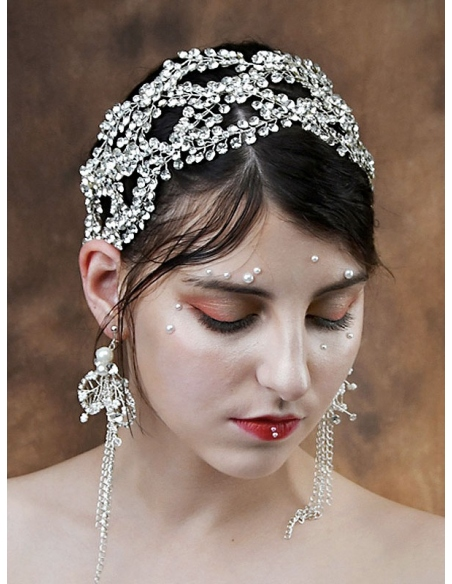 Fascia gioiello in strass argento per acconciatura sposa