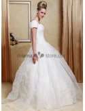CHARLOTTE - A-line Cheap Court train Organza Square neck Wedding dress