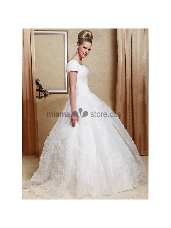 A line cheap court train organza square neck wedding dress for Discount wedding dresses charlotte nc
