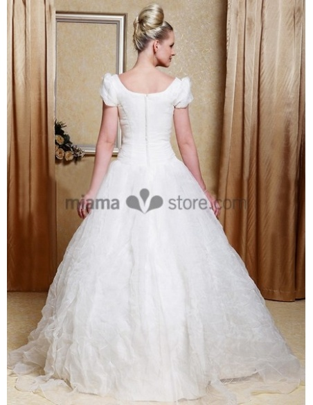 CHARLOTTE - A-line Cheap Court train Organza Square neck Wedding dress