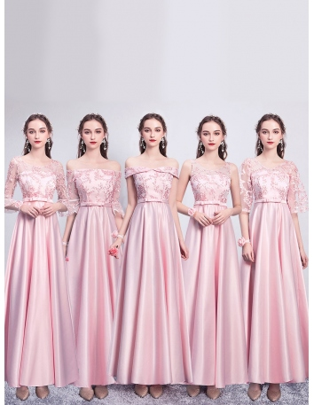 ブライズメイド ドレス ピンク ロング丈 5タイプ...
