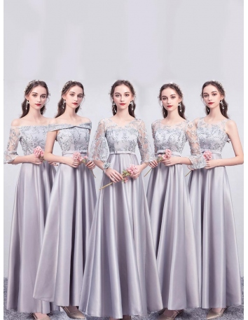 ブライズメイド ドレス グレー ロング丈 5タイプ...