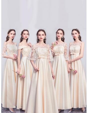 ブライズメイド ドレス シャンパン ロング丈 5タイプ...