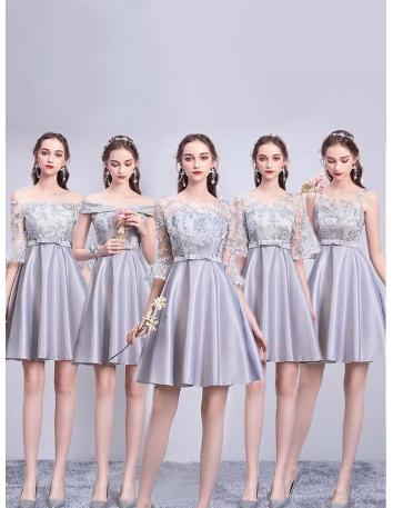 ブライズメイド ドレス グレー ショート丈 5タイプ...