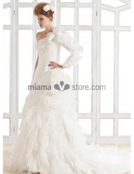 ANA - A-line Chapel train Organza Asymmetric Wedding dress