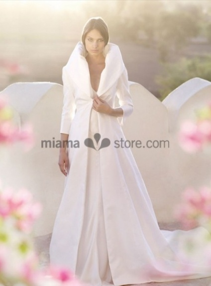 MATHILDE - Winter collection Chapel train Taffeta Turndown collar Wedding coat