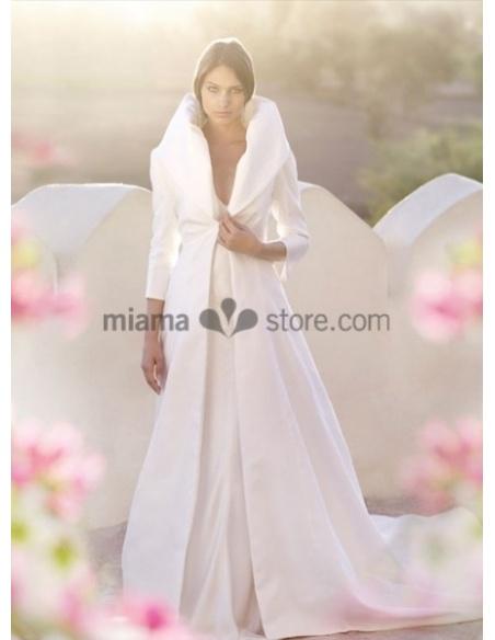 MATHILDE - Cappotto invernale da Sposa con collo alto bombato in raso