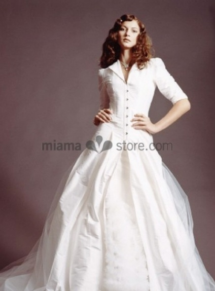 MAJA - Winter collection Chapel train Taffeta Turndown collar Wedding coat