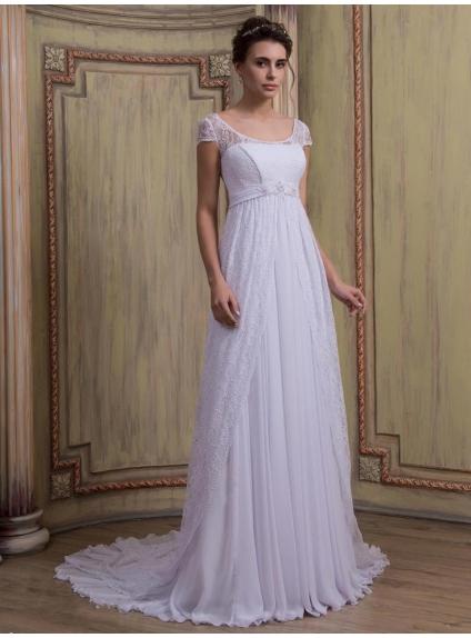 White online lace and chiffon maternity wedding dress