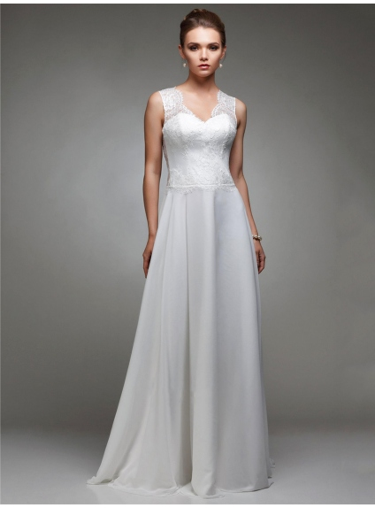 Simple wedding dress with lace top and georgette skirt