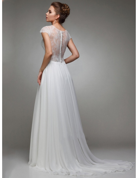 Elegant wedding dress with short lace sleeves and chiffon skirt