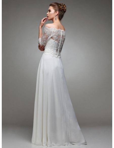 Off the shoulder neck wedding dress with laced top and short sleeves