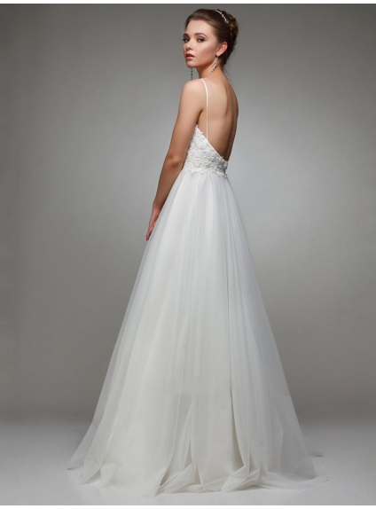 Fine lace and tulle low cut wedding dress