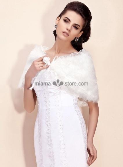 Bright faux fur Lace Bridal jacket Wedding wrap