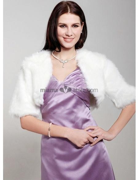 Half sleeves Bright faux fur Bridal jacket Wedding wrap
