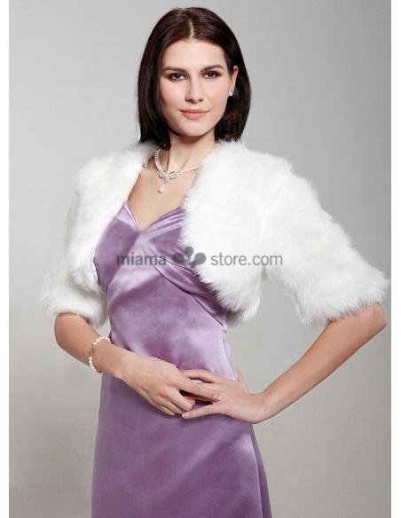 Coprispalle da Sposa in eco pelliccia con maniche a tre quarti