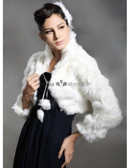 Long sleeves Bright faux fur Bridal jacket Wedding wrap