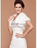 Short sleeves Bright faux fur Lace Bridal jacket Wedding wrap