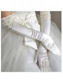 Satin Lace flowers Opera length Ivory Wedding gloves