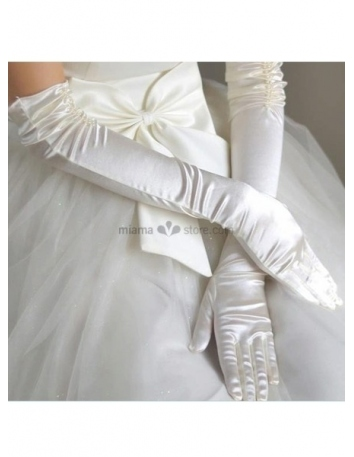Satin Lace flowers Opera length Ivory Wedding gloves