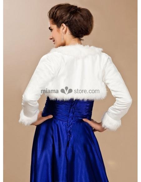 Long sleeves Satin Faux fur Lace Bridal jacket Wedding wrap
