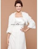 Long sleeves Bright faux fur Lace Bridal jacket Wedding wrap