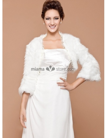 Long sleeves Bright faux fur Lace Bridal jacket Wedding wrap