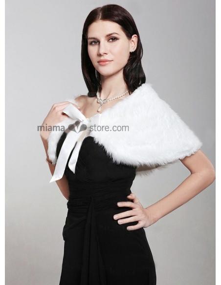 Mantella da Sposa in eco pelliccia con nastrino in raso