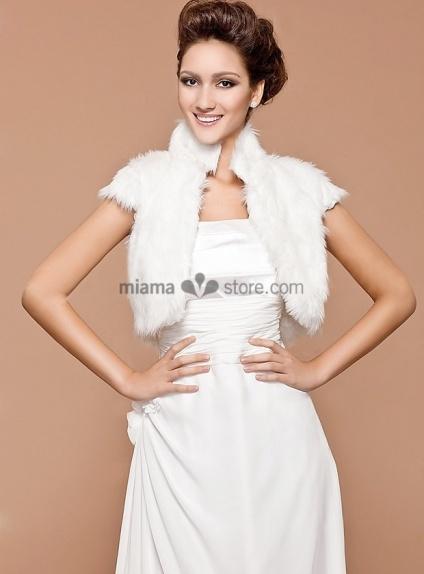 Short sleeves Bright faux fur Satin Bridal jacket Wedding wrap