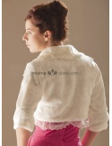 Three quarter sleeves Bright faux fur Lace Bridal jacket Wedding wrap