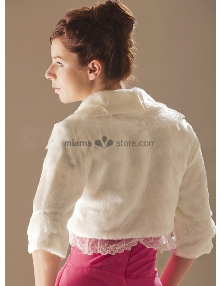 Three quarter sleeves Bright faux fur Lace Bridal jacket Wedding wrap