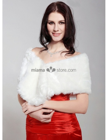 Short faux fur Bridal jacket Wedding wrap