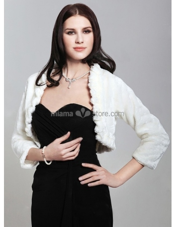 Long sleeves Short faux fur Bridal jacket Wedding wrap