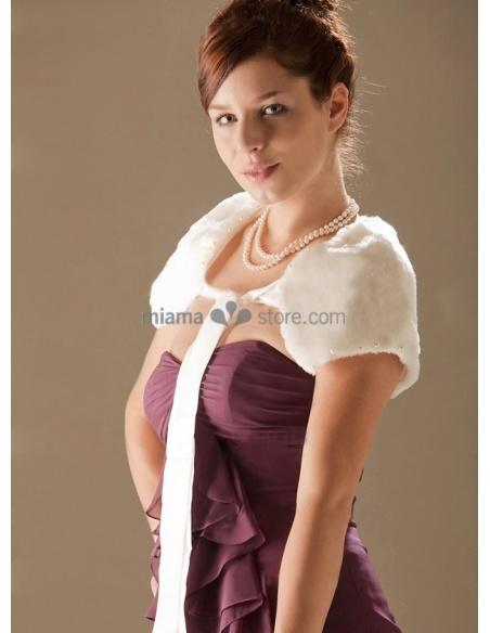 Short sleeves Bright faux fur Satin ribbon Bridal jacket Wedding wrap