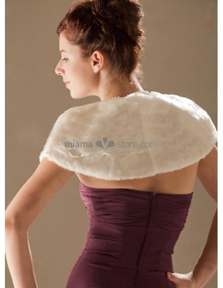Coprispalle da Sposa in eco pelliccia con nastrino in raso